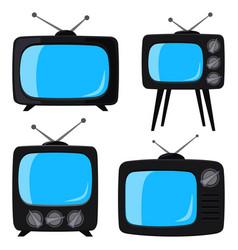 black cartoon various retro tv set vector image