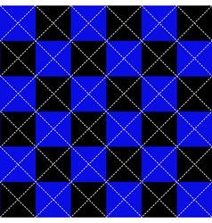 Blue black chess board diamond background vector