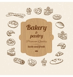 Bread and pastry sketch vector image
