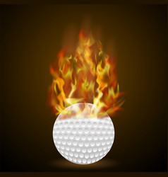 Burning golf ball with fire flame vector