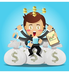 businessman with many arms sitting on money bags vector image