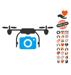 Camera drone icon with lovely bonus vector