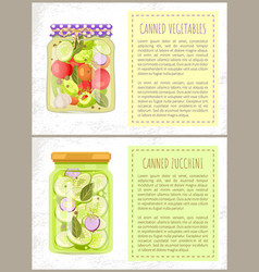 Canned pickled vegetables and zucchini glass jars vector