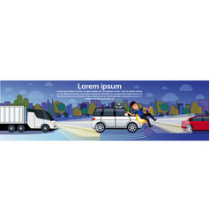 car hitting man pedestrian on night road transport vector image