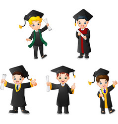 Cartoon kid in graduation costumes with different vector