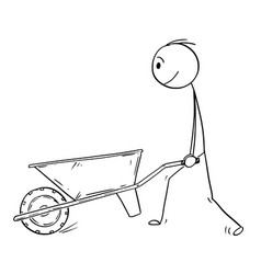 Cartoon of man pushing empty wheelbarrow vector