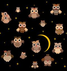 cartoon owls in night vector image