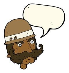 Cartoon victorian big game hunter with speech vector