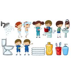 Children doing different routine activities vector