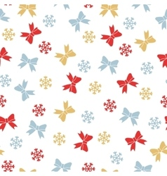 Christmas seamless pattern with bows and vector image