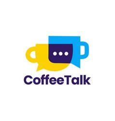 coffee talk chat bubble social logo icon vector image