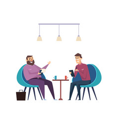 colleagues on coffee break businessmen drink hot vector image