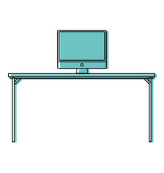 Color wood desk object with computer technolgy vector