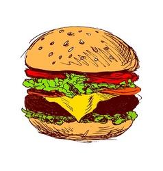 Colored hand sketch hamburger vector