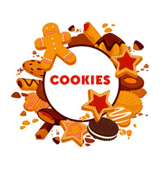 Cookie isolated round emblem bakery or pastry food vector