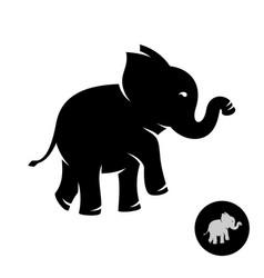 cute small elephant baby stylized logo black vector image