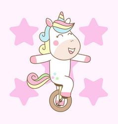 cute unicorn ride mono cycle ready for print vector image