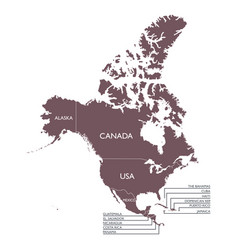 Detailed map of north america continent with name vector