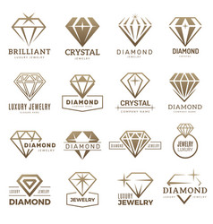 diamond logo stylizes gemstones royal luxury vector image
