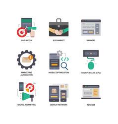 digital marketing icons set 2 vector image