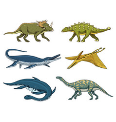 Dinosaurs elasmosaurus mosasaurus brontosaurus vector