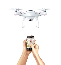 Drone And Smartphone With Navigation App vector