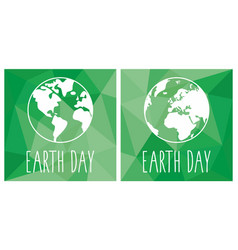earth day flat icon set with green planet vector image