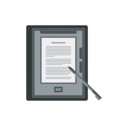 Electronic mobile book with stylus isolated icon vector