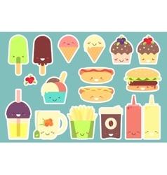 Fast food sticker set vector image