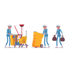 Female janitor cleaning taking out the trash vector