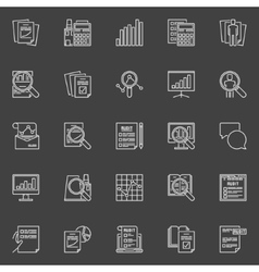 Financial audit line icons vector