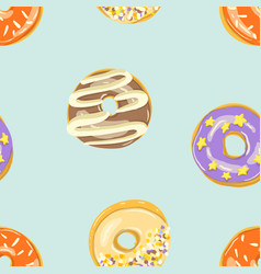 glazed donuts seamless pattern bakery vector image