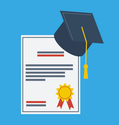 graduation cap and paper graduation award vector image
