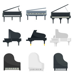 Grand piano icons set flat style vector