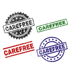 Grunge textured carefree seal stamps vector