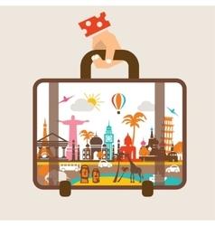 Hand holding luggage travel around world vector