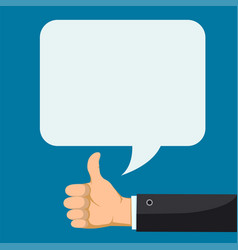 hand with thumbs up feedback speech bubble vector image