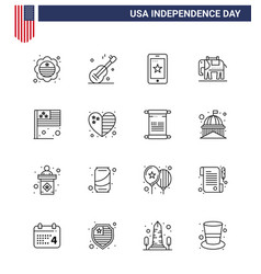 Happy independence day 4th july set 16 lines vector