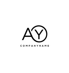 Initial ay letter logo with circle template vector