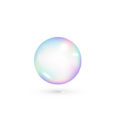 iridescent soap transparent bubble realistic vector image