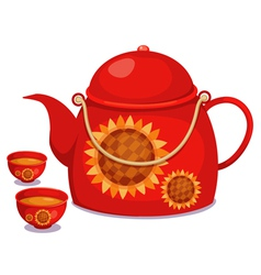isolated tea pot set vector image