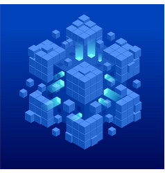 Isometric abstract blue cube design digital vector