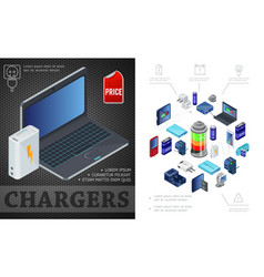 isometric sources of charging composition vector image