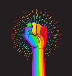 Lgbt poster design rainbow fist raised up gay vector