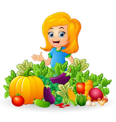 little girl with fruits and vegetables vector image