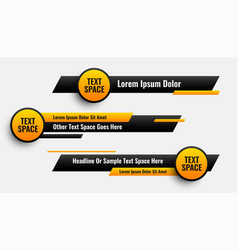 Lower third banners in circle and geometric style vector