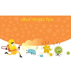 Man in Protective Suit Run Spraying Germ Character vector