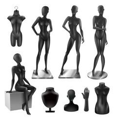 mannequins women realistic black image set vector image
