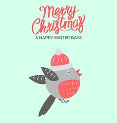 Merry christmas bullfinch vector
