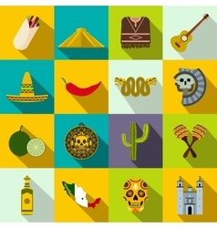 Mexico icons flat vector image